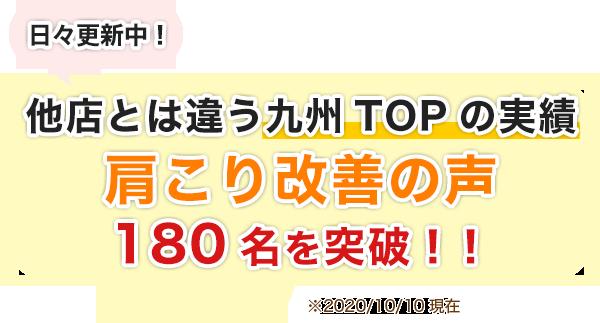 他店とは違う九州TOPの実績。肩こり改善の声180名を突破!!
